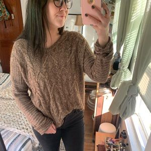 Large Sonoma Brown Cable Knit Sweater